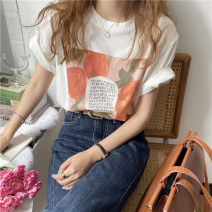 T-shirt Orange white Average size Spring 2021 three quarter sleeve Regular cotton 96% and above Phoeni Moshu 66175-14 Cotton 100%