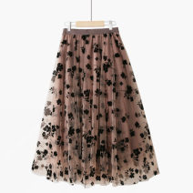 skirt Summer 2021 One size elastic waist Apricot [black flower flocking skirt], grey [black flower flocking skirt], deep coffee [black flower flocking skirt], black [black flower flocking skirt] longuette grace High waist A-line skirt Decor Type A 25-29 years old 020200923-01 Lace Thua