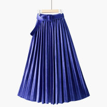 skirt Spring 2021 One size elastic waist Mid length dress gorgeous High waist Pleated skirt Solid color Type A 18-24 years old 020191031-092701 71% (inclusive) - 80% (inclusive) corduroy Thua polyester fiber Three dimensional decoration