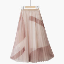skirt Summer 2021 One size elastic waist Grey blue [t Abstract printing skirt], apricot [t Abstract printing skirt] Mid length dress commute High waist A-line skirt Abstract pattern Type A 25-29 years old 020200605-01 Thua Print, lace Korean version