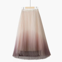 skirt Summer 2021 One size elastic waist Apricot coffee skirt / gradient [pleats], blue gray skirt / gradient [pleats], pink blue skirt / gradient [pleats], gray black skirt / gradient [pleats] longuette commute High waist Pleated skirt Solid color Type A 25-29 years old 020201021-01 Lace Thua Gauze