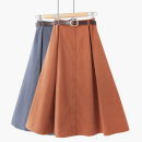 skirt Spring 2021 One size elastic waist Mid length dress Versatile High waist A-line skirt Solid color Type A 18-24 years old 020190810-20180823-01 81% (inclusive) - 90% (inclusive) Thua other Button