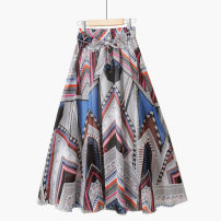 skirt Summer 2021 Mid length dress Retro Natural waist A-line skirt Decor Type A 18-24 years old 71% (inclusive) - 80% (inclusive) Chiffon Thua polyester fiber
