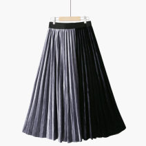 skirt Spring 2021 One size elastic waist longuette victoria High waist Pleated skirt Solid color Type A 25-29 years old 020200914-01 71% (inclusive) - 80% (inclusive) other Thua polyester fiber Fold, asymmetry, stitching