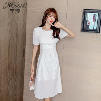 Dress Bow fold lace Summer 2021 Medium length skirt Short sleeve singleton  commute Crew neck Solid color High waist zipper 25-29 years old other A-line skirt 81% (inclusive) - 90% (inclusive) polyester fiber Other Korean version NSA05318302 Nonsar / ningsa other Polyester 90% other 10% S M L XL