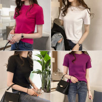 T-shirt S,M,L,XL,2XL Summer 2021 Short sleeve Crew neck Self cultivation routine commute cotton 86% (inclusive) -95% (inclusive) lady other Solid color