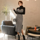 Dress Winter 2020 Black grey S,M,L,XL longuette singleton  Long sleeves commute Pile collar High waist Solid color Socket One pace skirt routine Others 25-29 years old Type H Other / other Ol style Splicing 23f knitting