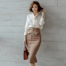 Dress 25-29 years old W761 Other / other zipper Type H Long sleeve Middle-skirt commute Two piece set One pace skirt Crew neck High waist Spring 2021 Ol style routine Solid color Lace up, stitching S. M, l, XL, hint: skirt is smaller than half size, need different size, can remark