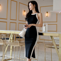 Dress Summer 2021 black S,M,L Middle-skirt singleton  Sleeveless commute Crew neck middle-waisted Solid color Socket One pace skirt Others 25-29 years old Type H Ol style H583 knitting