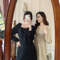 Dress Autumn 2020 Apricot, black S,M,L Mid length dress singleton  Long sleeves square neck High waist Solid color Socket other 18-24 years old Type A Lace More than 95% polyester fiber