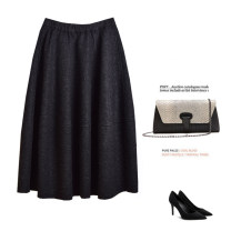 skirt Winter 2017 S,M,L,XL Gray, black longuette Versatile Natural waist Flower bud skirt Solid color Type O 25-29 years old C739 51% (inclusive) - 70% (inclusive) Wool wool Pleats, pockets, stitching