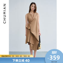 Dress Summer 2021 Cream camel black S M L Mid length dress singleton  Sleeveless commute Crew neck Solid color other Irregular skirt routine Others 25-29 years old Type X Primary cotton Simplicity Frenulum More than 95% cotton Cotton 100% Same model in shopping mall (sold online and offline)
