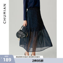 skirt Summer 2021 S M L XL Deep navy printing Mid length dress fresh Natural waist A-line skirt Broken flowers Type A 25-29 years old More than 95% Chiffon Primary cotton polyester fiber Polyester 100% Same model in shopping mall (sold online and offline)