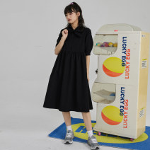Dress Summer 2021 Black red S M L Mid length dress singleton  Short sleeve commute other middle-waisted Single breasted A-line skirt routine Others 18-24 years old Type A You give Bandage More than 95% cotton Cotton 100% Pure e-commerce (online only)