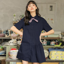 Dress Summer 2020 Royal Blue Pink S M L Short skirt singleton  Short sleeve commute square neck Loose waist Single breasted Irregular skirt routine Others 18-24 years old Type H You give Asymmetry EG20064577 More than 95% cotton Cotton 100% Pure e-commerce (online only)