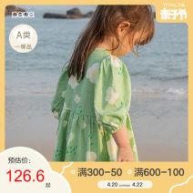Dress green female Papa / climbing 80cm 90cm 100cm 110cm 120cm Cotton 100% summer Short sleeve cotton other Class A Summer 2021 12 months, 9 months, 2 years, 3 years, 4 years