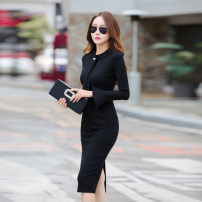 Dress Spring of 2018 S,M,L,XL,2XL longuette singleton  Long sleeves commute stand collar High waist Solid color zipper One pace skirt Lotus leaf sleeve Others 25-29 years old Type X 30% and below brocade cotton