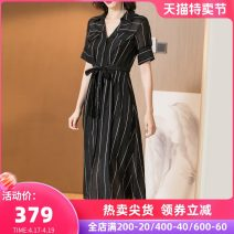 Dress Summer of 2019 black S M L XL XXL Mid length dress Two piece set Short sleeve commute other middle-waisted stripe Single breasted A-line skirt routine Others 35-39 years old Type A Mi Siyang literature Pocket strap button print 1Z19BL2884-X More than 95% other other Other 100%