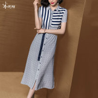 Dress Summer of 2019 blue S M L XL XXL Mid length dress singleton  Short sleeve commute square neck middle-waisted other Single breasted routine Others 35-39 years old Type H Mi Siyang lady Splicing More than 95% other other Viscose (viscose) 100% Same model in shopping mall (sold online and offline)