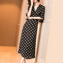 Dress Summer of 2019 black S M L XL XXL longuette singleton  Short sleeve commute V-neck middle-waisted Dot zipper Big swing pagoda sleeve Others 35-39 years old Type X Mi Siyang Retro printing 1X19BL3831-X More than 95% other other Viscose (viscose) 100%