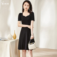Dress Summer 2021 Black / spot direct delivery S M L XL XXL Mid length dress singleton  Short sleeve commute Half open collar middle-waisted Solid color zipper Big swing puff sleeve Others 35-39 years old Type A Mi Siyang Retro Sequins 1Q21BL1542 More than 95% knitting other Other 100%