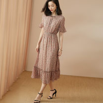 Dress Summer 2020 Pink S M L XL XXL longuette singleton  Short sleeve commute other middle-waisted Broken flowers Socket Big swing Lotus leaf sleeve Others 35-39 years old Type A Mi Siyang lady Lace up printing with lotus leaf and Auricularia auricula More than 95% Chiffon polyester fiber