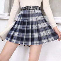 skirt Spring 2021 S,M,L,XL Pleated skirt No.9, pleated skirt No.10, pleated skirt No.11 Short skirt commute High waist Pleated skirt lattice Type A 18-24 years old 30% and below other other Chain, fold Korean version