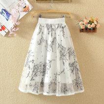 skirt Summer 2020 Average size White, black, red Mid length dress commute High waist A-line skirt Decor Type A Zipper, print Korean version