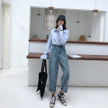 Women's large Autumn of 2019 Denim blue M (recommendation 80-100), l (recommendation 100-120), XL (recommendation 120-140), 2XL (recommendation 140-160), 3XL (recommendation 160-180), 4XL (recommendation 180-200) Jeans singleton  commute Straight cylinder moderate Solid color Korean version 1195-1