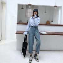 Women's large Autumn of 2019 Denim blue M (recommendation 80-100), l (recommendation 100-120), XL (recommendation 120-140), 2XL (recommendation 140-160), 3XL (recommendation 160-180), 4XL (recommendation 180-200) Jeans singleton  commute Straight cylinder moderate Solid color Korean version 1195-1