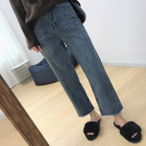 Women's large Summer of 2019, spring of 2019, autumn of 2019 Denim blue M (recommendation 80-100), l (recommendation 100-120), XL (recommendation 120-140), 2XL (recommendation 140-160), 3XL (recommendation 160-180), 4XL (recommendation 180-200) Jeans singleton  commute Straight cylinder moderate