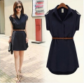 Dress Summer of 2018 Navy [belt for collection] S M L XL