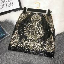 skirt Summer of 2019 Average size White, black Short skirt gorgeous High waist A-line skirt Decor Type A 25-29 years old 51% (inclusive) - 70% (inclusive) other nylon Embroidery, beads, sequins