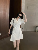 Dress Summer 2021 Black, white, grey S,M,L Short skirt singleton  Short sleeve commute tailored collar High waist Solid color Single breasted A-line skirt routine Others 18-24 years old Type A Greater than poetry Korean version Pocket, asymmetrical AQ07216 More than 95% polyester fiber