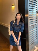 Dress Summer 2021 Dark blue, light blue S, M Short skirt singleton  Short sleeve commute Polo collar High waist Solid color Single breasted A-line skirt puff sleeve Others 18-24 years old Type A Greater than poetry Korean version AQ07116 More than 95% Denim cotton