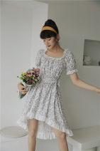 Dress Summer 2020 white S, M Mid length dress singleton  Short sleeve commute square neck Loose waist Socket Irregular skirt puff sleeve Type H Korean version