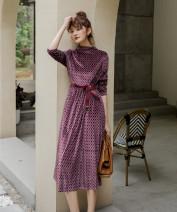 Dress Autumn of 2019 Geometric printing S,M,L,XL longuette singleton  Long sleeves commute Socket Big swing Type H Retro 2252#