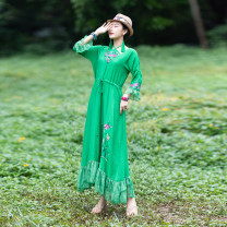 Dress Autumn of 2019 green L, M longuette singleton  Long sleeves commute Crew neck Loose waist Socket A-line skirt routine Hanging neck style Type A Embroidery 51% (inclusive) - 70% (inclusive) cotton