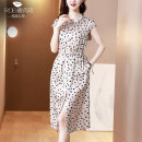 Dress Spring 2021 Black, beige L,XL,2XL,3XL,4XL Mid length dress singleton  Short sleeve commute V-neck High waist Dot other A-line skirt routine Others 35-39 years old Type H Furiyi Korean version Lace up, printed FRY#8910 91% (inclusive) - 95% (inclusive) Silk and satin silk