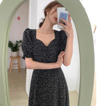 Dress Summer 2020 black Average size Mid length dress singleton  Short sleeve commute square neck High waist Broken flowers Socket other puff sleeve Others 18-24 years old Type A Korean version 31% (inclusive) - 50% (inclusive) other other
