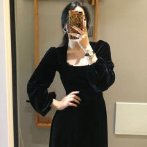 Dress Spring 2020 black M, L Mid length dress singleton  Long sleeves commute square neck High waist Solid color Socket A-line skirt routine Others 18-24 years old Type A Korean version 31% (inclusive) - 50% (inclusive) other other