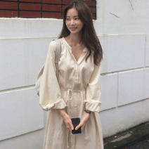 Dress Autumn 2020 Apricot, blue Average size longuette singleton  Long sleeves commute V-neck High waist Solid color Single breasted other routine Others 18-24 years old Korean version 31% (inclusive) - 50% (inclusive) other other
