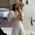 Dress Summer 2021 white Average size longuette singleton  Short sleeve commute square neck High waist Solid color Socket A-line skirt puff sleeve Others 18-24 years old Type A Korean version 31% (inclusive) - 50% (inclusive) other other