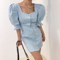 Dress Summer 2021 White, black, light blue S,M,L Short skirt singleton  Short sleeve commute square neck High waist Solid color Single breasted other puff sleeve Others 18-24 years old Korean version Button 31% (inclusive) - 50% (inclusive) other other
