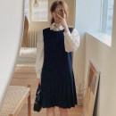 Dress Spring 2021 Black, Navy S,M,L,XL Middle-skirt singleton  Long sleeves commute Crew neck Loose waist Solid color Socket Pleated skirt routine 18-24 years old Korean version Splicing 71% (inclusive) - 80% (inclusive) other