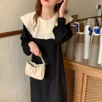 Dress Autumn 2021 black Average size longuette singleton  Long sleeves commute Doll Collar Loose waist other Socket other puff sleeve Others 18-24 years old Type H Korean version 31% (inclusive) - 50% (inclusive) other other