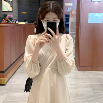 Dress Spring 2021 Apricot, grey blue S,M,L,XL longuette singleton  Long sleeves commute V-neck High waist Solid color Socket other puff sleeve 18-24 years old Type A Korean version Splicing 31% (inclusive) - 50% (inclusive) Chiffon other