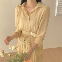 Dress Spring 2021 Average size longuette singleton  Long sleeves commute other High waist Solid color Socket Pleated skirt puff sleeve Others 18-24 years old Type A Korean version 31% (inclusive) - 50% (inclusive) other other
