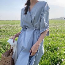 Dress Summer 2021 Gray blue S, M longuette singleton  Short sleeve commute V-neck High waist Solid color other A-line skirt other Others 18-24 years old Korean version 31% (inclusive) - 50% (inclusive) other other