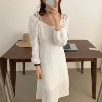 Dress Autumn 2020 Black, white S,M,L Mid length dress singleton  Long sleeves commute square neck High waist Solid color Socket other routine Others 18-24 years old Type A Korean version 31% (inclusive) - 50% (inclusive) other other